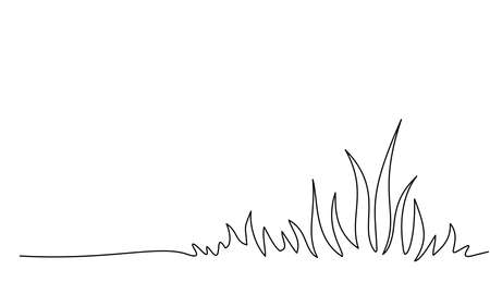 Abstract meadow line with grass one line drawing