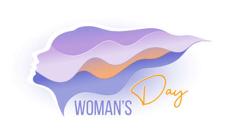 Abstract Profile of beautiful young woman. Womans day card