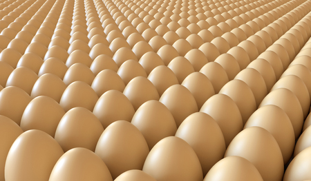 Lots of eggs in a crate. Brown chicken egg background. Easter eggs. 3D rendering illustration.