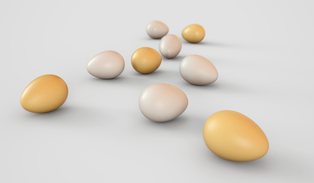 Eggs on a white background. Easter eggs. 3D rendering illustration.