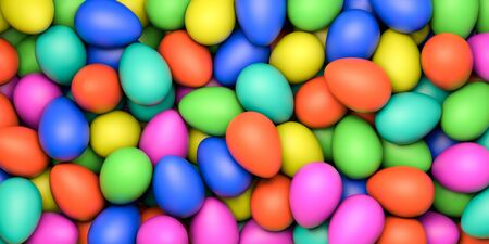 Happy Easter. Background with painted eggs. Conceptual illustration. 3d render 免版税图像 - 139602060