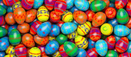Happy Easter. Background with painted eggs. Conceptual illustration. 3d render