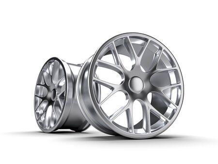 Steel disks for a car 3D rendering illustration.