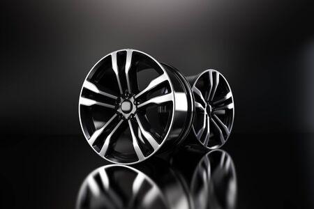 Powder coating of black wheel disk on black background. 3D rendering illustration.