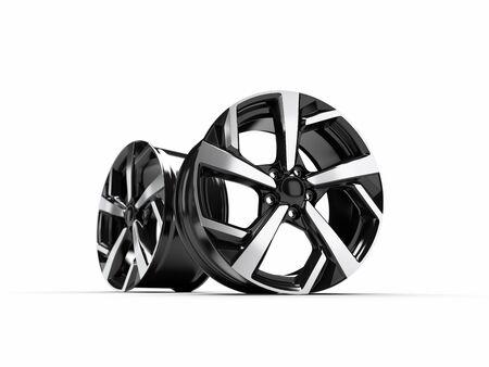 Alloy wheel for a car. 3D rendering illustration. Reklamní fotografie