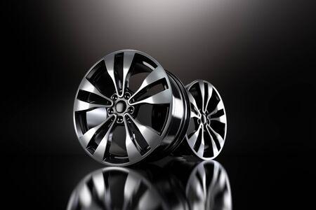Silver Forged Alloy Car Rim on black background 3D rendering illustration.