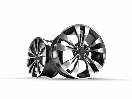 car wheels isolated on a white background, 3D rendering illustration. Reklamní fotografie