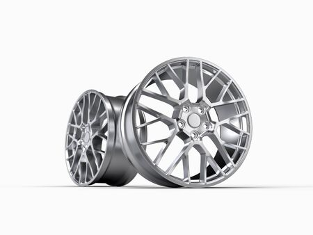 forged car rim isolated on white background, 3D rendering illustration.