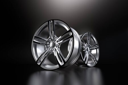 forged car rim isolated on black background. 3D rendering illustration.