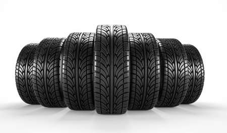 Seven car tire on white background. Poster or cover design. 3D rendering illustration.
