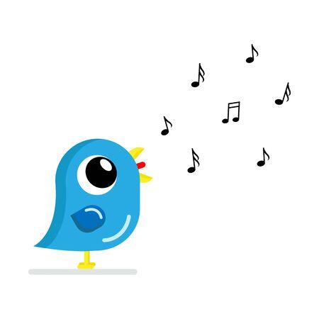 singing bird in flat style vector image