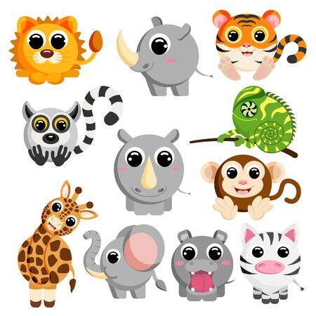 Cute african animal set vector image
