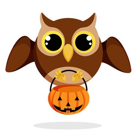 halloween owl in flat style vector image