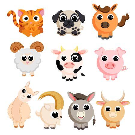 Cute domestic animal set vector image Ilustrace