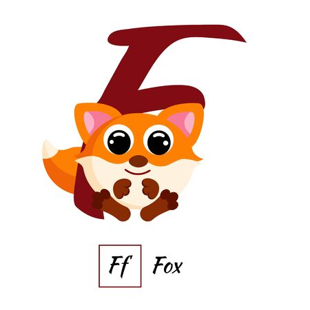 Cute English animal alphabet letter F vector image