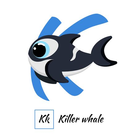 Cute English animal alphabet letter K vector image