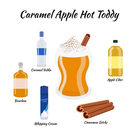 recipe of caramel apple hot toddy cocktail whith ingredients