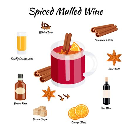 recipe of spiced mulled wine cocktail whith ingredients Ilustração