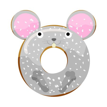 Cute powdered mouse donut isolated on white vector illustration. Cute cartoon character.