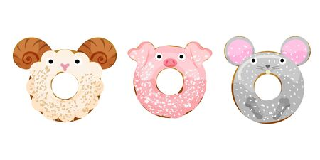 Cute powdered animals sheep, pig, mouse donuts set isolated on white vector illustration. Cute cartoon characters.