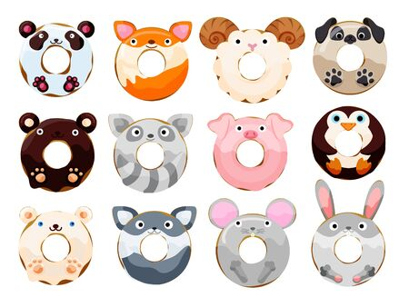 Cute animals donuts set isolated on white vector illustration. Cute cartoon characters.