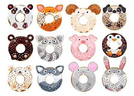 Cute powdered animals donuts set isolated on white vector illustration. Cute cartoon characters.