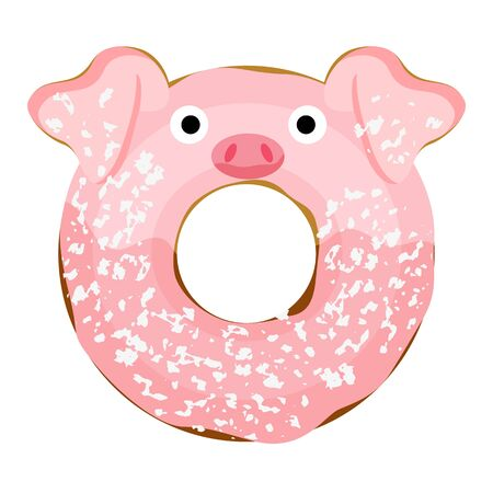 Cute powdered pig donut isolated on white vector illustration. Cute cartoon character.