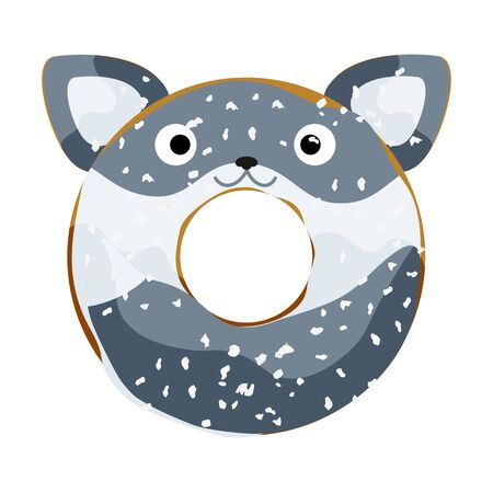 Cute powdered wolf donut isolated on white vector illustration. Cute cartoon character.