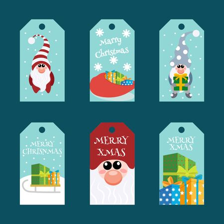 Christmas gift tags template set. Christmas tags with cute gnome with lettering.