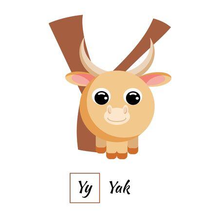 Image vectorielle de mignon alphabet animal anglais lettre Y Vecteurs