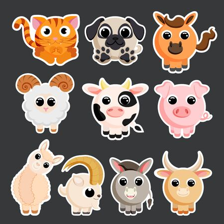 Cute domestic animals set sticker template vector