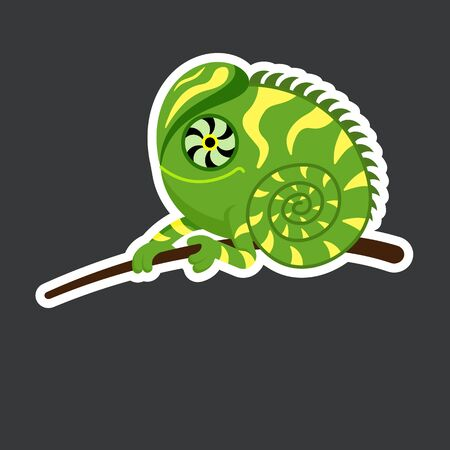 cute iguana sticker template in flat vector style