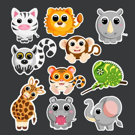 cute african animals set sticker template in flat vector style Stock Illustratie