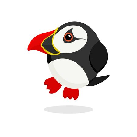 Cute atlantic puffin vector illustration. Flat design. Isolated Illustration on white background