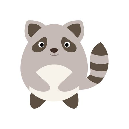 Cute racoon isolate on white background. Vector illustration in cartoon style