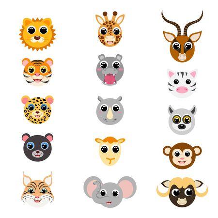 Funny cute african animal heads. Cartoon characters. Flat vector stock illustration on white background. Cute heads of giraffe, gazelle, elephant, hippo, jaguar, lion, monkey, camel, rhinoceros, zebra Illustration
