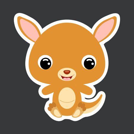 Children's sticker of cute little sitting kangaroo. Wild animal. Cartoon character for baby print design, kids wear, baby shower celebration, greeting, invitation card. Flat vector stock illustration