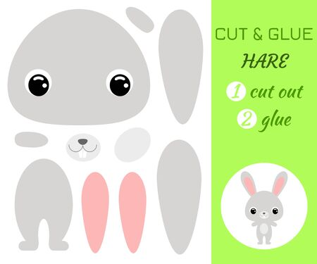 Cut and glue baby hare. Color paper application game. Educational paper game for preschool children. Cartoon character. Forest animal. Flat vector stock illustration.