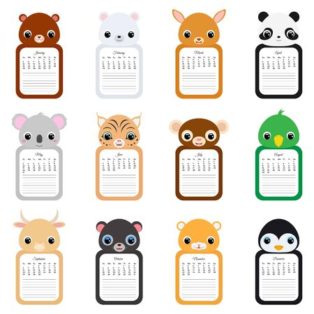 Calendar 2020. Cute monthly calendar with animals. Good for kids. Flat vector stock illustration.