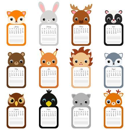 Calendar 2020. Cute monthly calendar with animals. Good for kids. Flat vector stock illustration. Foto de archivo - 142862170