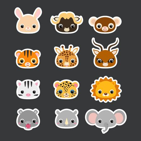 Stickers set of cute african animal heads. Cartoon character for baby print design, kids wear, baby shower celebration, greeting, invitation card. Flat vector stock illustration