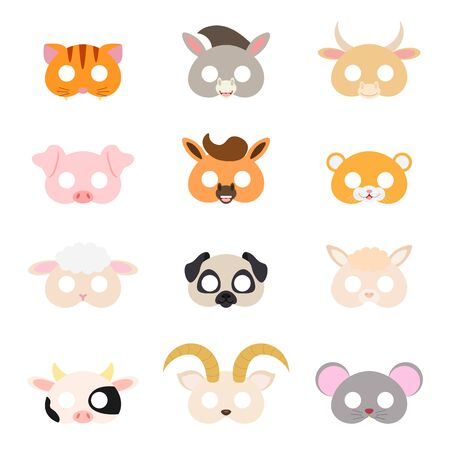 Set of assorted animal masks, DIY toys, dress up costumes mask, party supplies, birthday party favors, play accessories, photo booth props for kids. Flat vector stock illustration on white background. Vektoros illusztráció