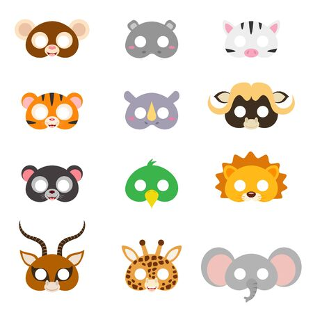 Set of assorted animal masks, DIY toys, dress up costumes mask, party supplies, birthday party favors, play accessories, photo booth props for kids. Flat vector stock illustration on white background.
