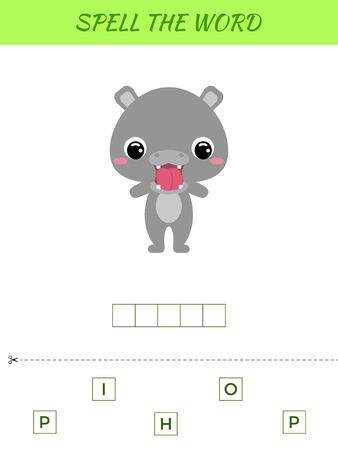 Spelling word scramble game template. Educational activity for preschool years kids and toddlers with cute hippo. Flat vector stock illustration. Иллюстрация