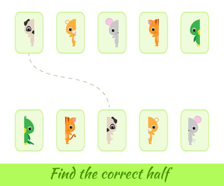 Clip cards game template find correct halves. Matching game for children. Educational activity for preschool years kids and toddlers Set of cartoon animals. Vector stock illustration. Illustration