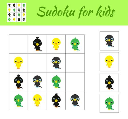 Sudoku game for children with pictures. Kids activity sheet. Educational game for preschool years kids and toddlers. Set of cute cartoon animals. Flat vector stock illustration.