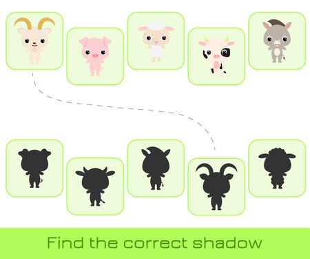 Clip cards game template find correct shadow. Matching game for children. Educational activity for preschool years kids and toddlers. Set of cartoon animals. Vector stock illustration. 向量圖像