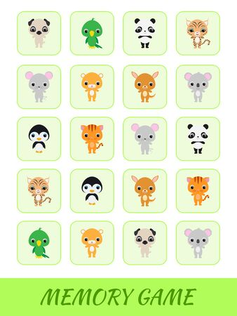 Clipart cards game template find two same pictures. Memory game for kids. Education developing worksheet. Logical thinking training. Set of cute cartoon animals. Vector stock illustration. Ilustração