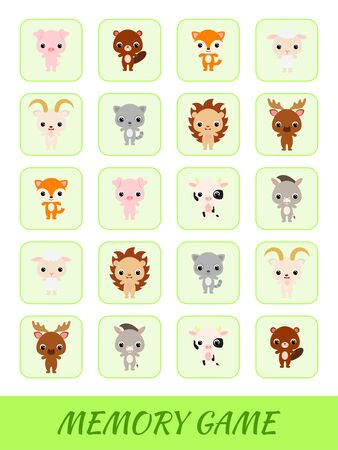 Clipart cards game template find two same pictures. Memory game for kids. Education developing worksheet. Logical thinking training. Set of cute cartoon animals. Vector stock illustration. 向量圖像