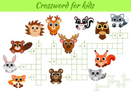 Crosswords game of animals for children with pictures. Kids activity worksheet colorful printable version. Educational game for study English words. Includes answers. Flat vector stock illustration.